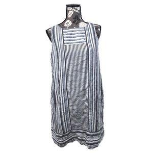 NWOT J. JILL blue and white linen tank top dress